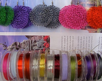 Hand Crocheted wire earrings COLORS!,Hand Crocheted colorful circle earrings, Wire Crocheted color circle earrings