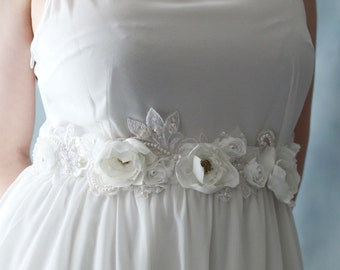 Beautiful Handmade Ivory White Flower Wedding Sash Belt with Sequins and Faux Pearl Accents