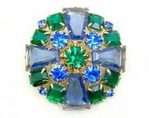 Maltese Cross Brooch (Pin), Blue Green Rhinestone, Keystones, Emerald Cut, Round, Vintage 1950s, Prong Set Dog Tooth