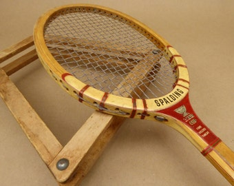 Spalding Davis Cup Tennis Racquet - Racket - White Ash Bow - Adjustable Wooden Press Frame - Belgium