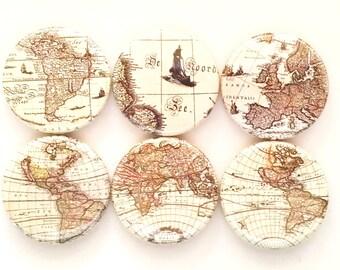 World Map Magnets, Old Maps, Fridge Magnets, Old World Maps, Office Magnets, Vintage Map Decor, Map Theme, Refrigerator Magnets, Set of 6