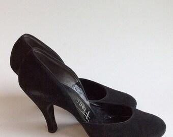 50s Classic Suede Fiancee's Black Pumps / 1950s Vintage Rockabilly Suede Heels / Size 7 - 7.5