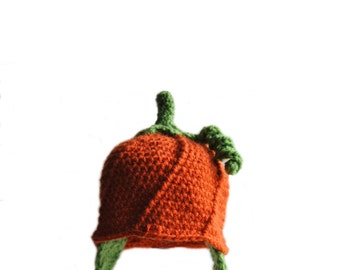 Crochet Pumpkin Hat, Crochet Baby Hat, Baby Boys Fall Hat, Newborn Photo Prop, Thanksgiving Crochet Hat, Girls Pumpkin Hat, Toddler Crochet