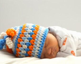 Swirly Crochet Stripes, Newborn Baby Hat, Orange Blue, Hospital Hat, Newborn Photo Prop, Granny Striped Hat, Infant Beanie, Cute Toddler Hat