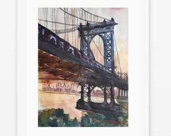 Manhattan Bridge, New York Watercolors paintings original, Watercolor Painting, New York painting, American Painting, New York City