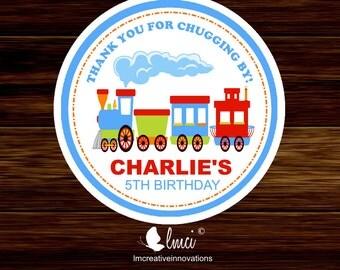 Choo Choo Train Birthday Stickers, Train Party Favors, Train Favor Tags