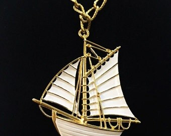 Trifari HUGE Statement Necklace Extra Large White Sailboat Sailor Nautical Designer Signed Trifari Chunky Gold Chain Sea Ship Pirate Boat