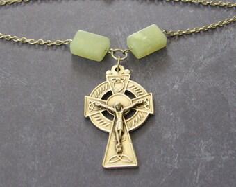 Green and Silver Celtic Cross Necklace *Irish cross,Catholic,Christian,religious jewelry,trinity,cross,crucifix,Ireland,Erin,Celtic knot