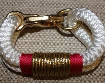 Customized Maine Rope Bracelet - White Rope - Salmon / Metallic Gold - Made to Order