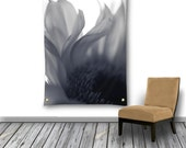 Ethereal Wall Tapestry, Blue Flower Wall Hanging, Gray Floral Photo Tapestry, Tapestry Wall Hanging, Large Wall Decor, Floral Garden Flag