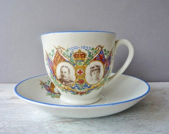 Vintage Commemorative Tea Cup & Saucer - Royal, Silver Jubilee, King George V, Queen Mary, 1930's,
