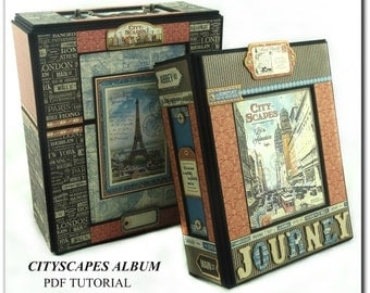 Cityscapes Mini Album PDF Tutorial, Scrapbook Tutorial, Scrapbook Album Tutorial, Travel Album Tutorial, Mini Album Tutorial