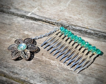 Crystal Flower Hair Comb