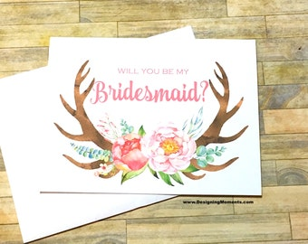 Will You Be My Bridesmaid Card - Rustic Antler Bridesmaid Card - Be My Bridesmaid - Maid of Honor Wedding Card - Bridesmaid Thank You Card