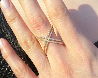 Double Criss Cross Ring - Double X Ring - 925K Silver with Swarovski Stone - X Ring - Criss Cross Ring - Ring - Gift - Valentine's Day Gift