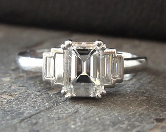 1.00 ct Emerald Cut Diamond Ring in Platinum with Baguettes