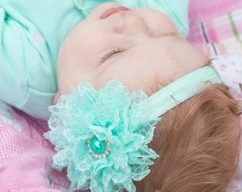 Aqua Flower Headband, Aqua Headband, Aqua Lace Headband, Baby Headband, Flower Girl Headband, Lace Flower Headband, Aqua Flower Girl,