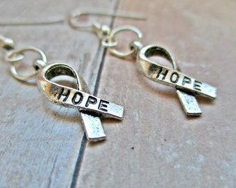 Cancer Ribbon Earrings ~ Silver Earrings ~ Ribbon Awareness Earrings ~ Breast Cancer Jewelry ~ Cancer Surivior Gift