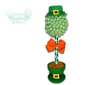 Lollipop Leprechaun Topiary, candy, leprechaun, st. patrick's day, candy buffet, holiday, lollipop topiary, candy topiary, customizable