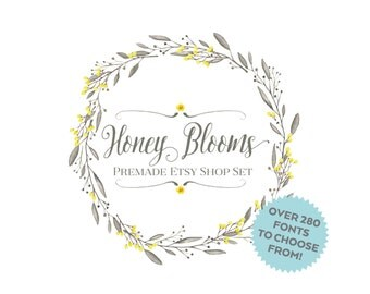 Etsy Cover Photo -  Etsy Banner - Etsy Shop Set -Honey Blooms - Floral Watercolor Wreath