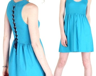 Corset Back Cotton Mini Dress