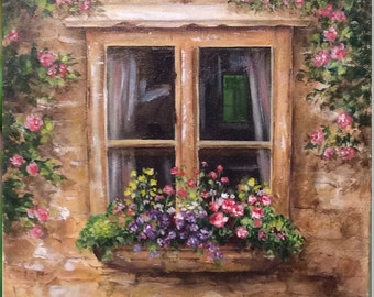 Beautiful original  Acrylic Artwork...Cottage Window Painting, hand painted on gallery wrap canvas-