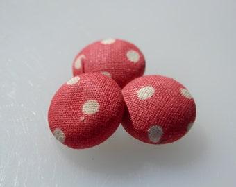 SET Polka Dot Vintage Fabric Buttons