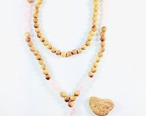 Self-Love, Calm and meditation Japa Mala - Yoga jewellery-Meditation necklace-Natural Santal wood-Rose quartz-lotus charm- Silk tassel pink