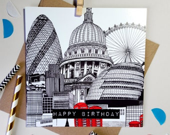 Illustrated London Skyline Birthday Card- London Lover//Friend//Brother//Sister//Dad//Uncle