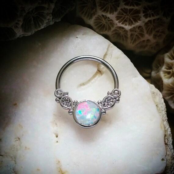 16G 14G Fire Opal Silver Septum Ring Cute by ThrowBackAnnie