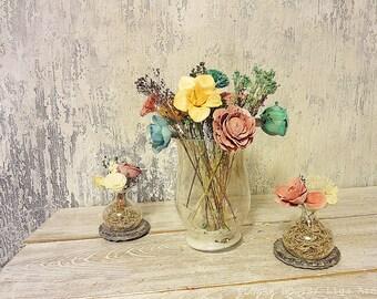 Sola Table Peach Mint Boysenberry Flower Arrangement For Jars Vase Centerpiece Spring Summer Wedding