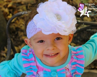 White Flower Rhinestone Lace Headband, Large Flower, Couture Headband, Vintage, Baby Toddler Girl Woman - SB-082