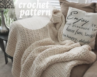 Instant Download Crochet Pattern - Crochet Chunky Blanket - Easy tutorial - Afghan Pattern| THE CRAFTER BLANKET|  Pattern -
