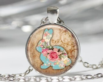 Shabby Flower Bunny (12 choices) Pendant Necklace Art Print Jewelry Charm Jewelry or Keyring, rabbit