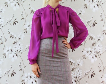 Women knee length brown tweed skirt, office wear, busienss clothes, pencil skirt, tweed skirt, checkered skirt, brown plaid skirt