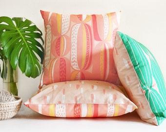 Blush pink Mid-century modern throw pillow • original, abstract cactus-inspired textile