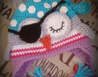 Crochet Girl Pirate Owl Hat