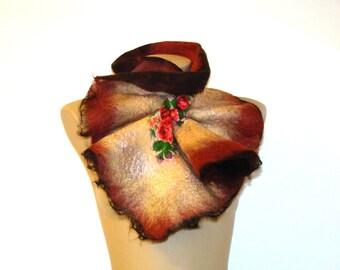 Multicolor Felted Wool Scarf Neckpiece Collar. Brown Beige Felted Wrap floral scarf. Chunky scarf Elegant winter accessory. Folk style