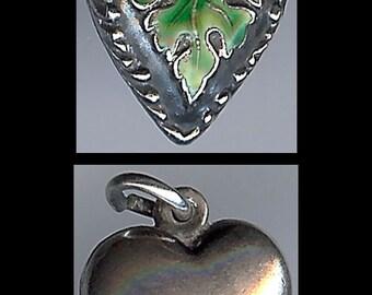 Vintage sterling silver green ENAMEL oak leaf PUFFY HEART charm