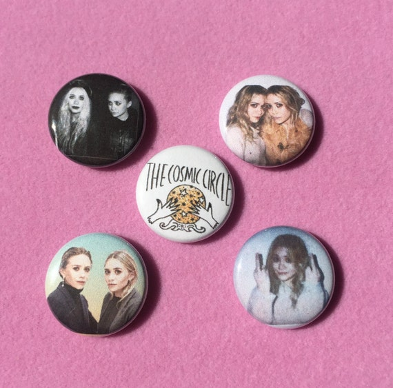 "Olsen Twins Button Pack - Mary-Kate & Ashley Buttons - Olsen Twins Pin 1"" Button Pin Back - Olsen Badge Buttons - Celebrity Buttons 1 inch"