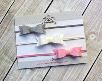 Felt Bow Headband Set, Newborn Headbands, Small Bow Headbands, Baby Girl Bows, Felt Headbands, Felt Hair Bows, Baby Bows, Infant Headbands