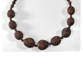 Short Elegant Bali - Necklace in teracotta brown. One of a kind...