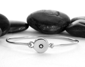 Sun Charm, Sun Jewelry, Sun Charm Bracelet, Sun Bangle, Silver Sun Bracelet, Sun, Sun Jewellery, Sterling Silver, Silver Sun Charm, b248s