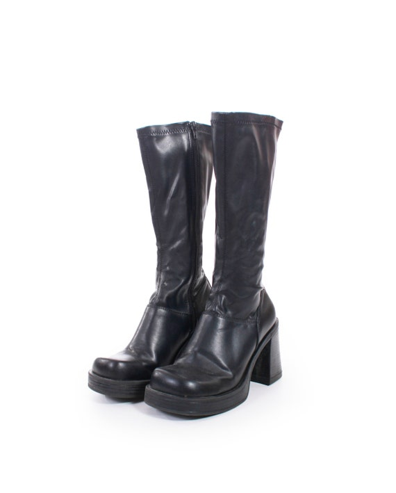 90s Vintage Black Vegan Leather Tall Chunky Platform Boots Y2k