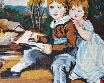 French vintage handmade needlepoint tapestry children portrait, the Bowden children needlepoint