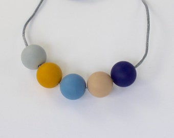 Mustard and Navy Silicone Necklace