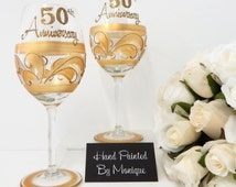 Anniversary Wine Glass Celebration Gift For Parents Golden Wedding ...