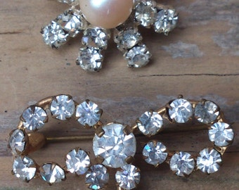 Two vintage rhinestone and pearl brooches