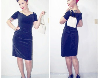 Black 1960s Inspired 1980s Velvet Pinup Dress - HONEY FASHIONS LTD