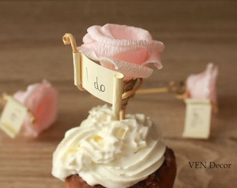 Rustic Cupcake Decoration, 7 Flower Cupcake Toppers, Bridal Shower Decorations, Rustic Wedding Party Cupcake Toppers, Personalized Toppers